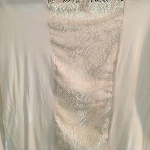 Pale pink 3/4 sleeve w lace panel up the back