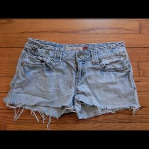 Aeropostale Light Denim Cutoff Jean Shorts 3/4