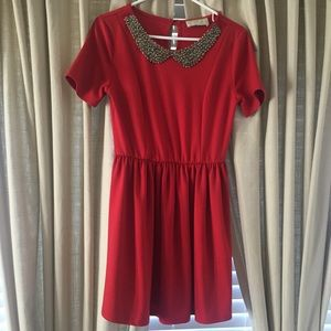 Tinley Road Dresses & Skirts - Red Dress with Beaded Collar