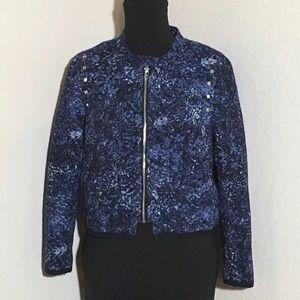 H&M Studded Blue Marbled Print Bomber Jacket Sz 8