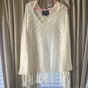 Paper Crane Sweaters - NWOT White/Cream Fringe Sweater with Hood