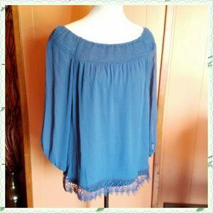 AB Studio Tops - Chiffon peasant blouse.