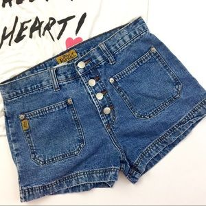 Pants - High Waisted Button Fly Denim Shorts