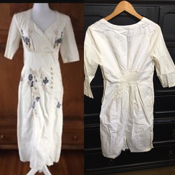 eaf6a1cf3f5 eshakti Dresses   Skirts - Eshakti L 12 Cream Floral Embellished Sheath  Dress