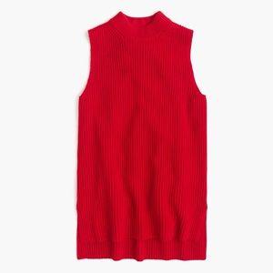 J Crew Red Sleeveless Tunic Sweater