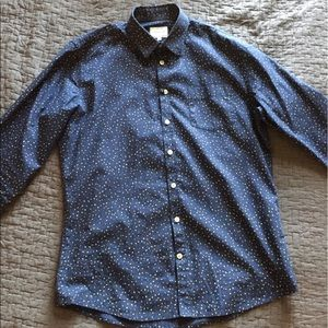Frank & Oak Other - Frank & Oak Slim Fit Navy Patterned Button Up