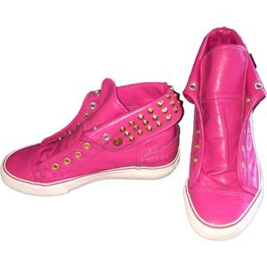 Apple Bottoms Shoes - Hot Pink & Gold Studded Sneakers