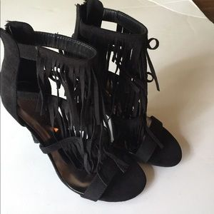 Wild Diva Shoes - New Wild Diva caged fringe stiletto heels