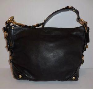 AuthCoach Carly black Leather Satchel Hobo Handbag