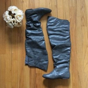 Shoes - Grey over the knee boots
