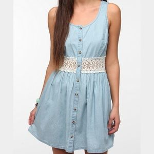 Pins & Needles Dresses & Skirts - Chambray and crochet button front sundress Small