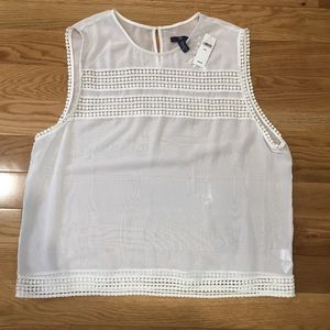 GAP Factory Tops - NWT Sheer + White Embroidered Shell Top