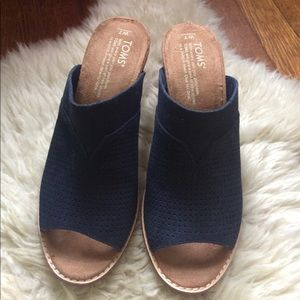 TOMS Shoes - TOMS Majorca Perforated Mule Navy Suede Heels