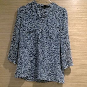 Armani Exchange blue dotted blouse