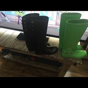 "Coach Shoes - Bright green neon rain boots ""Lori"" size 8"