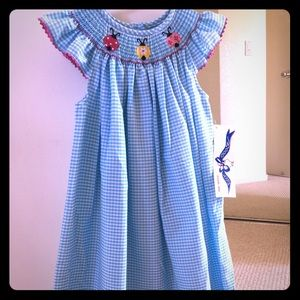 Other - NWT Blue Gingham Smocked Dress with 🐞