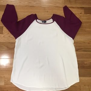 GAP Factory Tops - Maroon + White Baseball-Style Top