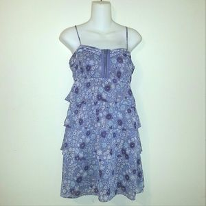 AEO Purple Tiered Sheer Floral Sun Dress