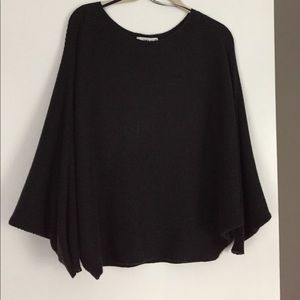 Zara soft ribbed knit poncho style sweater  L