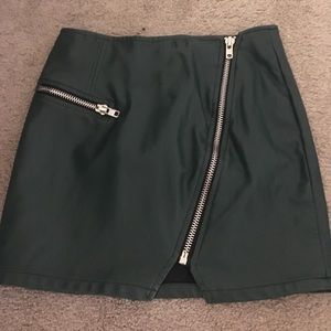Forever 21 Skirts - Green faux leather mini skirt with zippers