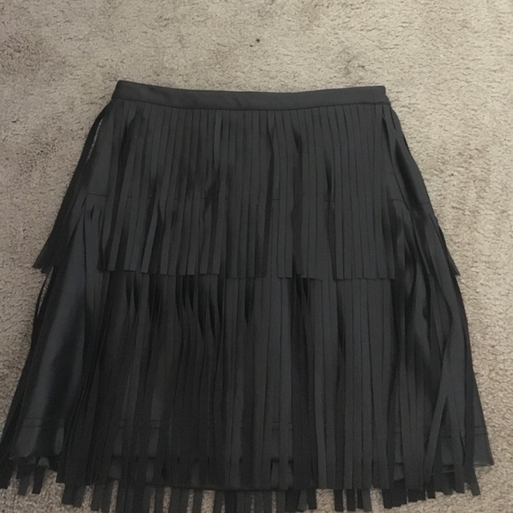 H&M Skirts - Black faux leather fringe skirt!