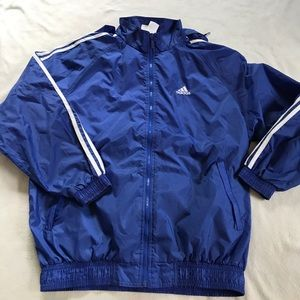 Adidas Other - ADIDAS Blue and White 3 Stripe Windbreaker