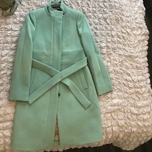 NWT J Crew Double Cloth wool funnel coat sz 2