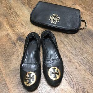 ✨Tory Burch Black Leather & Gold Reva Flats Sz 8 ✨