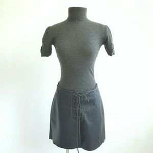 Free People Dresses & Skirts - NWT Free People  Genuine Leather Lace-Up Skirt