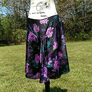 Dresses & Skirts - Black and purple floral skirt size 9