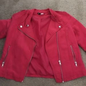 Hot pink suede jacket