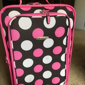 Rockland Carry-on Pink Polka-dot Rolling Luggage