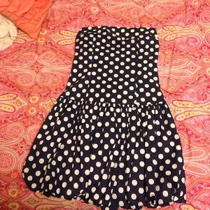 Akualani Dresses & Skirts - NWOT Navy white polka dot dress