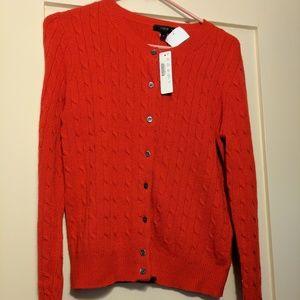 J. Crew Sweaters - NWT J.Crew red Cambridge cable cardigan sweater
