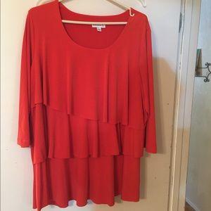 Susan Graver Tops - 1X Orange Susan Graver tunic, 100% polyester