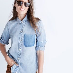 Madewell shrunken ex-boyfriend shadow pocket shirt