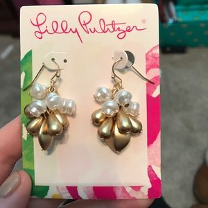 Dangly Gold and White Earrings