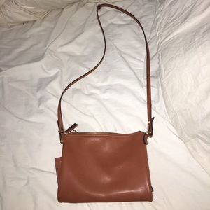 Tan cross-body purse