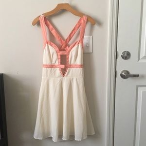 Akira Chicago beautiful plunge cream dress