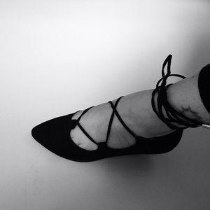 Black Lace Up Ankle Criss Cross Flats