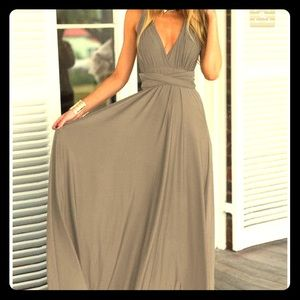 Dresses & Skirts - Grey stretchy beach maxi dress strappy back tie