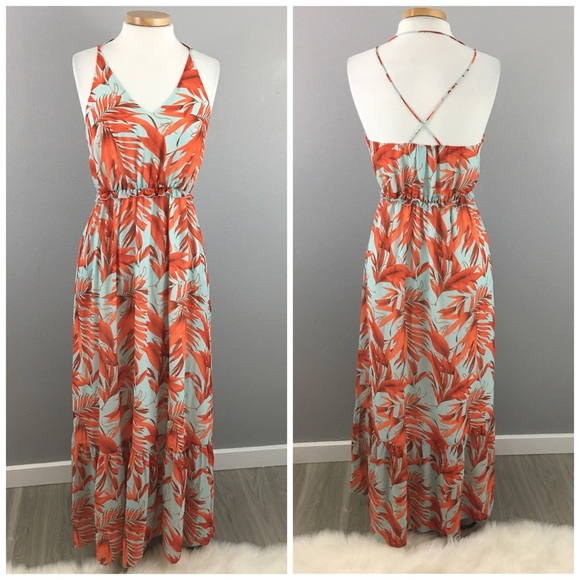 630922100e7 H M Dresses   Skirts - H M Turquoise Orange Leaf Print Maxi Dress