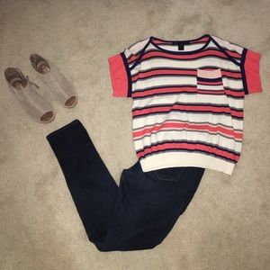 Marc by Marc Jacobs coral and navy sweater