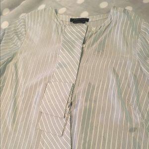 BCBGMaxAzria Striped Print Ruffle Front Blouse