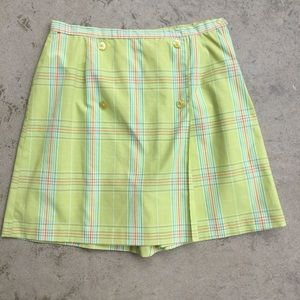 Vintage Green Plaid Skort