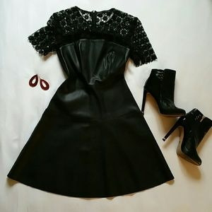 Zara fit and flare faux leather and lace dress