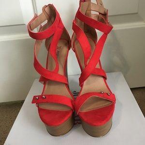 Shoes - Red Platform Wedges