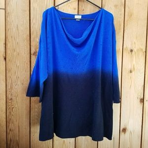 Jaclyn Smith Sweaters - Jaclyn Smith Ombre Rhinestone Detail Scoopneck