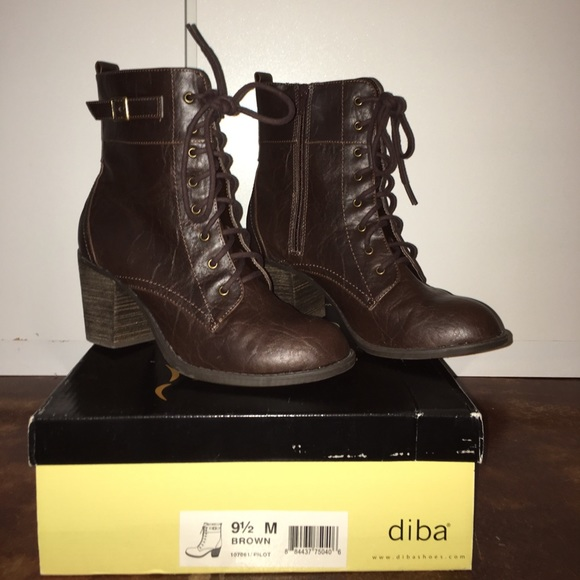 27 diba shoes chocolate brown boots with heel