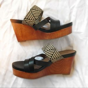 NWOT - Wooden Wedge Slip On Sandals - Lucky Brand